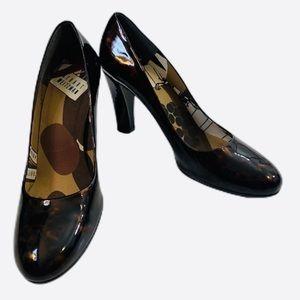Stuat Weitzman brown patent leather block heels